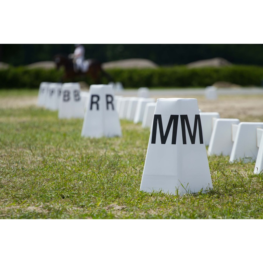 Horse dressage arena letter post and field fence  Foto: Iurii